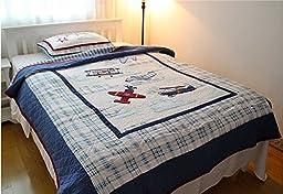 LELVA Cartoon Airplane Quilt Set Children\'s Bedspreads Set Kids Bedding Boys Patchwork Quilt