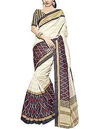 Applecreation Cream & Black Bhagalpuri Silk Printed Saree