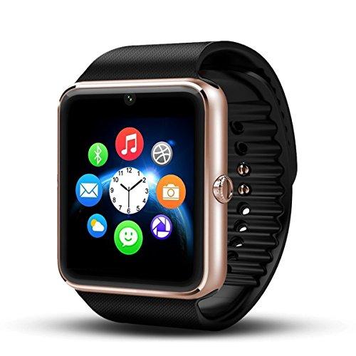 Smartwatch-Android-DeYoun-Bluetooth-Smartwatch-Intelligente-Orologio-Da-Polso-Telefono-con-Slot-per-Scheda-SIM-TF-per-Android-Samsung-Huawei-Xiaomi-Sony-LG-HTC-Iphone-IOS-Parte-delle-funzioni-Aureo