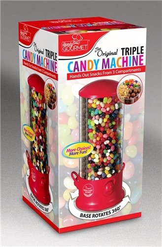 Triple Candy Machine (12 Pieces) -  3 Compartments To Hold 3 Different Types Of Candies/Nuts.  Each Compartment Has Its Own Dispenser Lever You Simply Push Down To Dispense Candy  Item Spins For E
