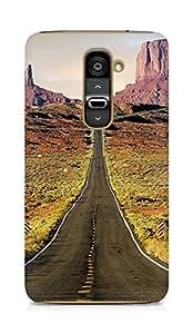 Amez designer printed 3d premium high quality back case cover for LG G2 (Nature Endless Road Rock Mountains Landscape)