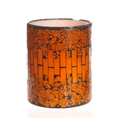 Dfl 3*4 Inch Pumpkin Color Crack Pattern Mosaic Glass With Flameless Led Candle With Timer,Work With 2 Aa Battery
