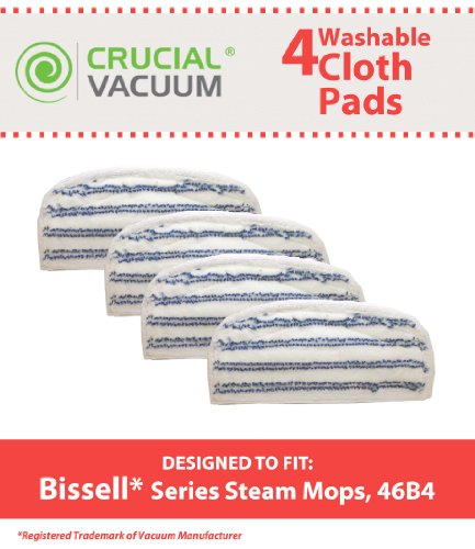 4Pack Washable & Reusable Pads Fits Bissell Steam & Sweep Hard Floor Cleaner Series 46B4; Replaces Bissell Part 75F5, 2032200, 203-2200, Does Not Fit Bissell Powerfresh Mop 1940, Designed & Engineered by Crucial Vacuum (Bissell 46b4 compare prices)