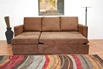 Big Sale Dark Tan Microfiber Sectional Sofa Bed with Left Facing Storage Chaise