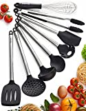 Kitchen Utensil Set - 8 Best Kitchen Utensils - Nonstick Cooking Spatulas - Silicone & Stainless Steel Kit - For Pots & Pans - Serving Tongs, Spoon, Spatula Tools, Pasta Server, Ladle, Strainer, Whisk