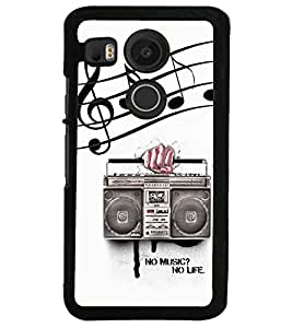 Fuson Premium No Music No Life Metal Printed with Hard Plastic Back Case Cover for LG Nexus 5X