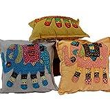 Ufc Mart Hand Embroidered Designer Cushion Cover Set, Color: Multi-Color, #Ufc00434