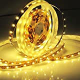 TWOPAGES Warm White 12V DC Flexible Strip 16.4ft 5m LED Light Strips 300Leds SMD3528 Non-waterproof Light Strips