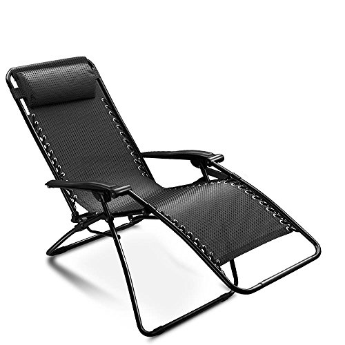Flexzion Zero Gravity Chair (Black) Adjustable Folding Lounge Recliner By Breathable Mesh Fabric and Coated Steel Frame with a Removable Pillow for Outdoor Beach Pool Patio Garden Yard Camping