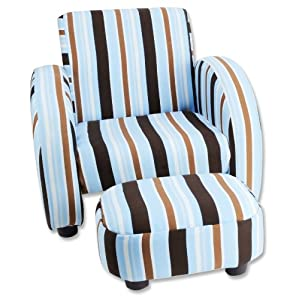 Trend Lab Max Stripe Twill Mod Chair and Ottoman Set, Blue, Brown