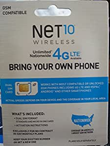 Net 10 GSM Sim Card Unlimites Talk Dext and Data $40 Month and Works with At&t Network