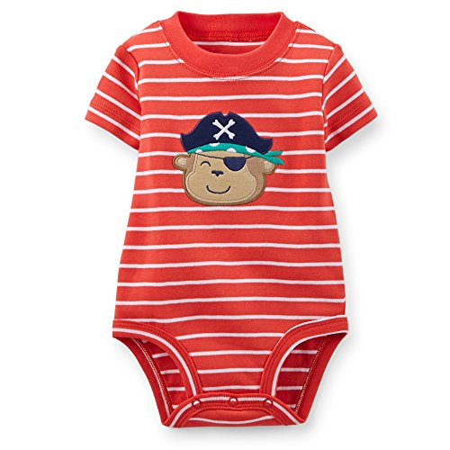 Carter's Boy Pirate Monkey Appliqué Bodysuit (Newborn; Red and White)