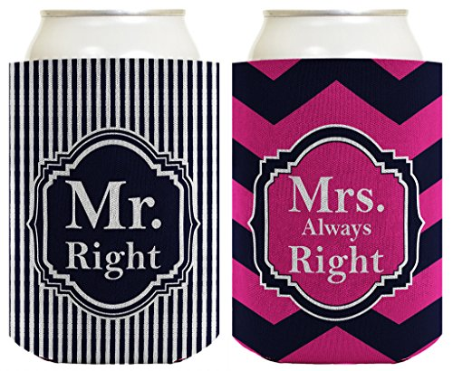 Wedding Coolie Mr and Mrs Right Bridal Shower Bachelorette Gag Gift 2 Pack Can Coolie Drink Coolers Coolies Premium Full Color