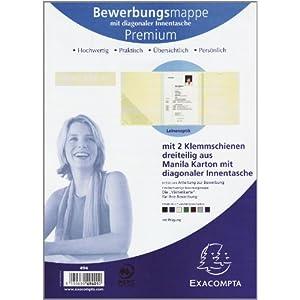 Exacompta 49401B Bewerbungsmappe (3-teilig mit 2 Klemmschienen und Innentasche Kapazität 30 Blatt a