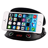 Cyelee(TM) Universal Dashboard Mount with Built-In Holder+Wireless Bluetooth FM Transmitter Radio Adapter Hands-free vehicle Kit/MP3 athlete with Handsfree Calling, rechargeable Lithium Battery,Speaker,MIC,Cigarette Lighter,USB 5V/2A Charging Port,and IR Remote, for iPhone 5s 5c 4s 4 iPod, Android, music player, iPad Air Mini 2, Samsung Galaxy S 4 3, Galaxy Note 3 2, Nexus 4 5, HTC One, Xperia, Blackberry, Windows Phone