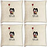 Snoogg First Love Pack Of 4 Digitally Printed Cushion Cover Pillows 16 X 16 Inch