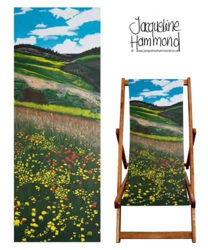 Art Print Designer Deck Chair Sling Only - Santa Fe Fields