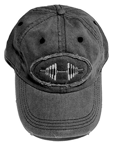 Charcoal Raw Edge Patch Barbell Baseball Cap (Charcoal)