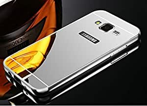 ARNAV Branded Luxury Metal Bumper Acrylic Mirror Back Cover Case For Samsung Galaxy A7 - (SILVER) Plated