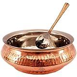 "Indian Art Villa 2.5"" X 6.5"" Set Of 1 Hammered Steel Copper Mughlai Handi - 650 ML & 1 Spoon Serving Dishes, Rice..."