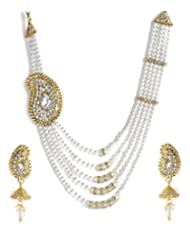Shinning Diva Paisley Haar Style Pearl Necklace Set For Women