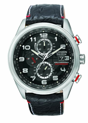 Citizen Men's Quartz Watch with Black Dial Chronograph Display and Black Leather Strap AT8030-18F