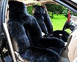 Schaffell Autositzbezüge schwarz Autokissen 2pcs FrontabdeckungFahrersitz Auto Sitzkissen Lammfell