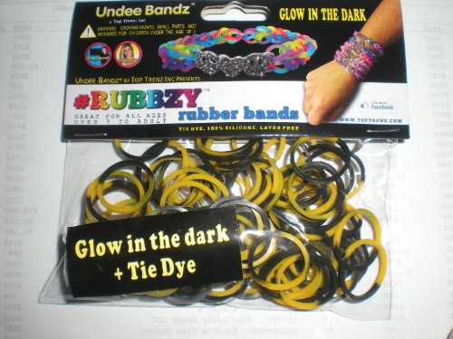 Rubbzy Yellow and Black Glow in the Dark 100 Loose Rubber Bands