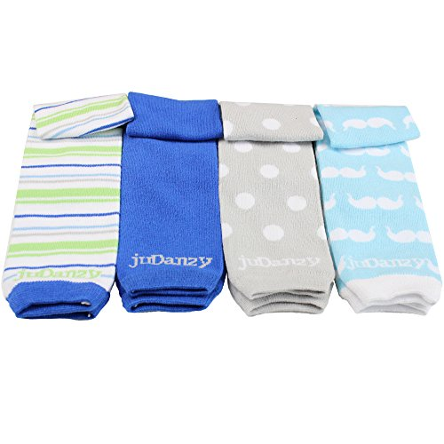 JuDanzy 4-pack Organic baby & toddler leg warmers gift set for boys & girls (One Size (12 pounds to 10 years), Jazzy Boy)