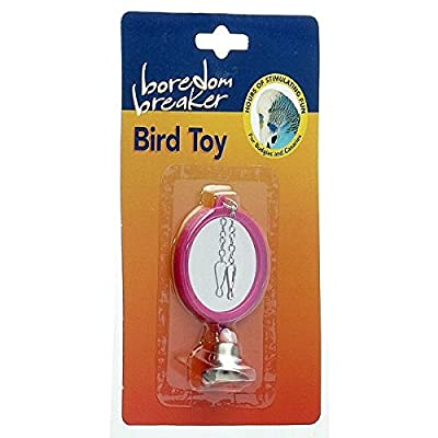 (Boredom Breaker) Bird Toy Double Sided Mirror Pink