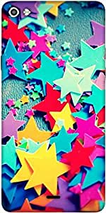 Snoogg Stars Colourful Pattern Designer Protective Back Case Cover For Micromax Canvas Silver 5 Q450