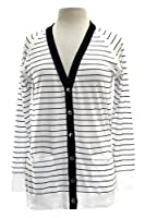 Repeat Cashmere Striped Boyfriend Cardigan in White Navy