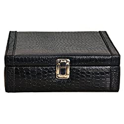 The Runner PU Leather Croc Finish Black Watch Box for 8 Watches