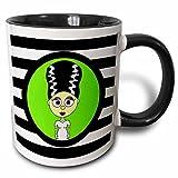 3dRose 3dRose Cute Bride of Frankenstein - Two Tone Black Mug, 11oz (mug_10770_4), , Black/White