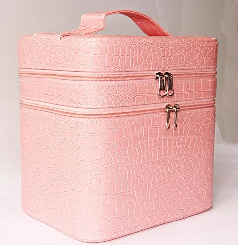 hoyofo-large-double-layer-beauty-makeup-box-sturdy-leather-cosmetic-storage-casespink