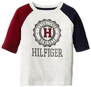 Tommy Hilfiger Little Boys' 3/4 Riddick Baseball Tee, Oatmeal Heather, 04 Regular