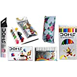 Combo Pack Of Doms Zoom Pencils + Doms 12 Colour Pencils + Doms 12 Wax Crayons + Doms Tempera Colours 12 Shades + Doms 12 Sketch Pen + 1 Free Pouch