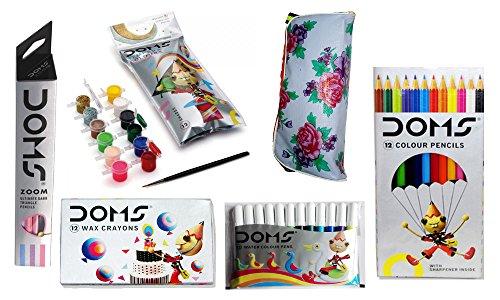 Combo Pack Of Doms Zoom Pencils + Doms 12 Colour Pencils + Doms 12 Wax Crayons + Doms Tempera Colours 12 Shades + Doms 12 Sketch Pen + 1 Free Pouch