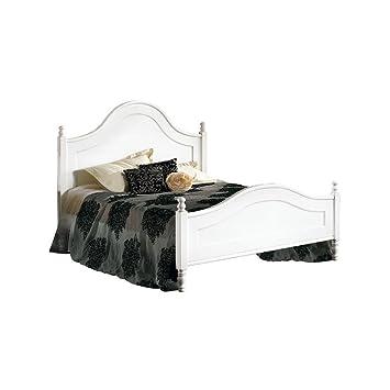 Letto matrimoniale, stile classico, in legno massello e mdf con rifinitura in bianco opaco - Mis. 174 x 216 x 148