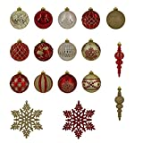 Valery Madelyn Luxury Collection Red and Gold Shatterproof Christmas Ball Ornaments, 40 Set, 40 Metal Hooks Included