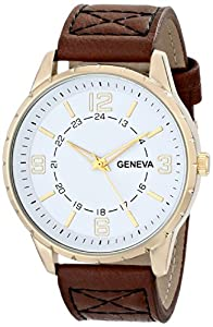 Geneva Men's 2393B-GEN Gold-Tone Watch with Faux Leather Band
