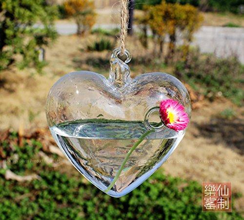 Imvation Hanging Haret Shape Plant Glass Vase Garden Hydroponic Plants Container Wedding Decoration