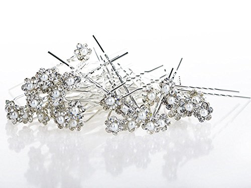 Yantu Womens Flower Bridal Wedding Hair Pin with Crystal (pack of 40pcs pins)