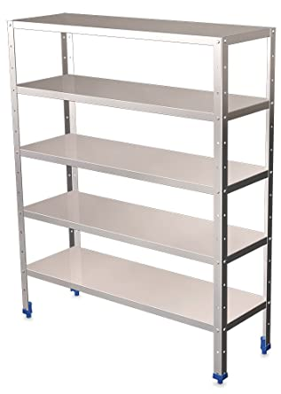 Shelf (L) 50 cm Stainless Steel with 5 Levels with 0.8 80- (H) 175- (D) mm depaisseur
