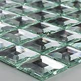 Glasmosaik Fliesen 3D Spiegel Effekt Mosaik Silber Speigelmosaik