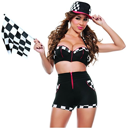 Starline Women's Full Throttle Racer Sexy 4 Piece Costume Set with Flag