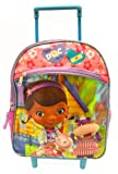 Disney Doc Mcstuffins 12 Inch Toddler Rolling Backpack (Lambie, Hallie)