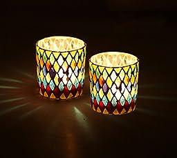 Clearance Sale - SouvNear Tealights Set of 2 Mosaic Glass Tealight Candle Holder - 3.1\