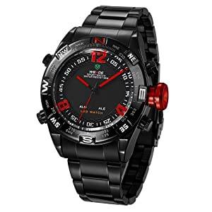 Mens Sport Watch Dual Time LED Digital Analog Black Metal Band Quartz Red Hands WH-157