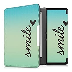 kwmobile Elegant synthetic leather case for the Kobo Glo HD / Touch 2.0 Design Smile in blue turquoise with practical magnetic clasp